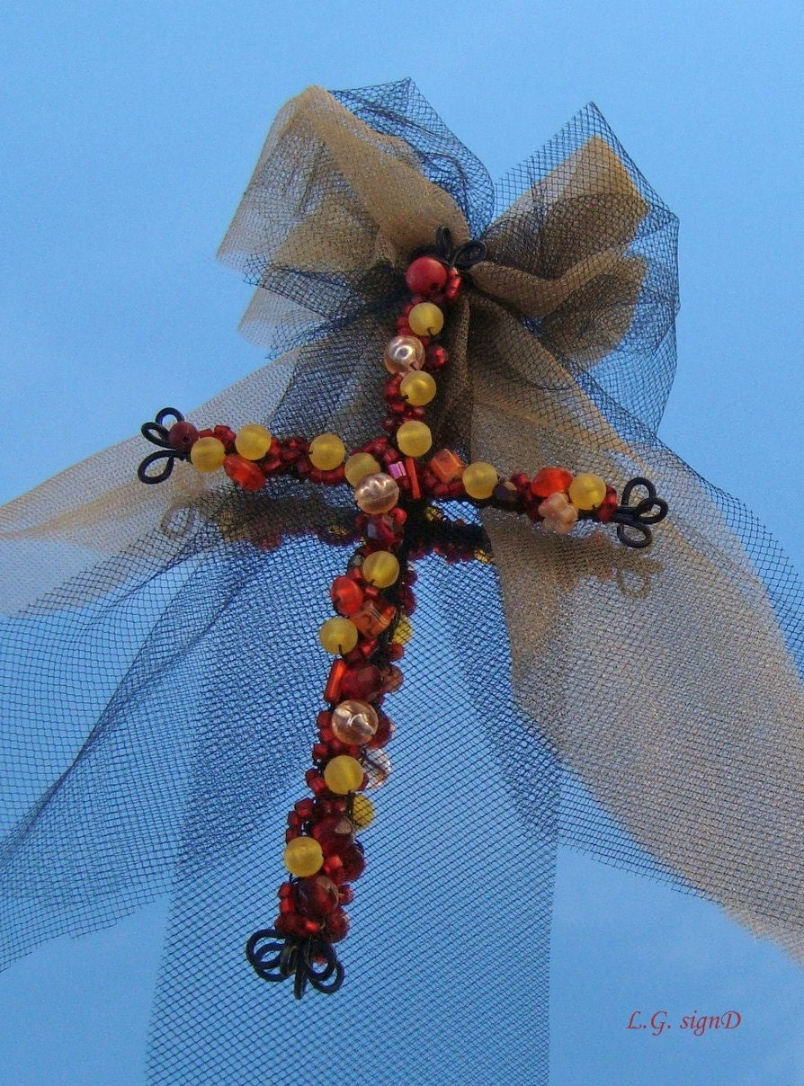 Items Similar To Beaded Wire Cross Craft Cross Home Decor Christian Christmas Decoration
