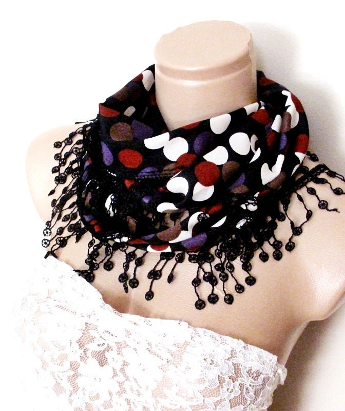 NEW LISTING Chiffon Scarf Adorned Fringed Guipure Scarf,Bandana,Headband,Elegant 2013 fashion - ScarfLovers