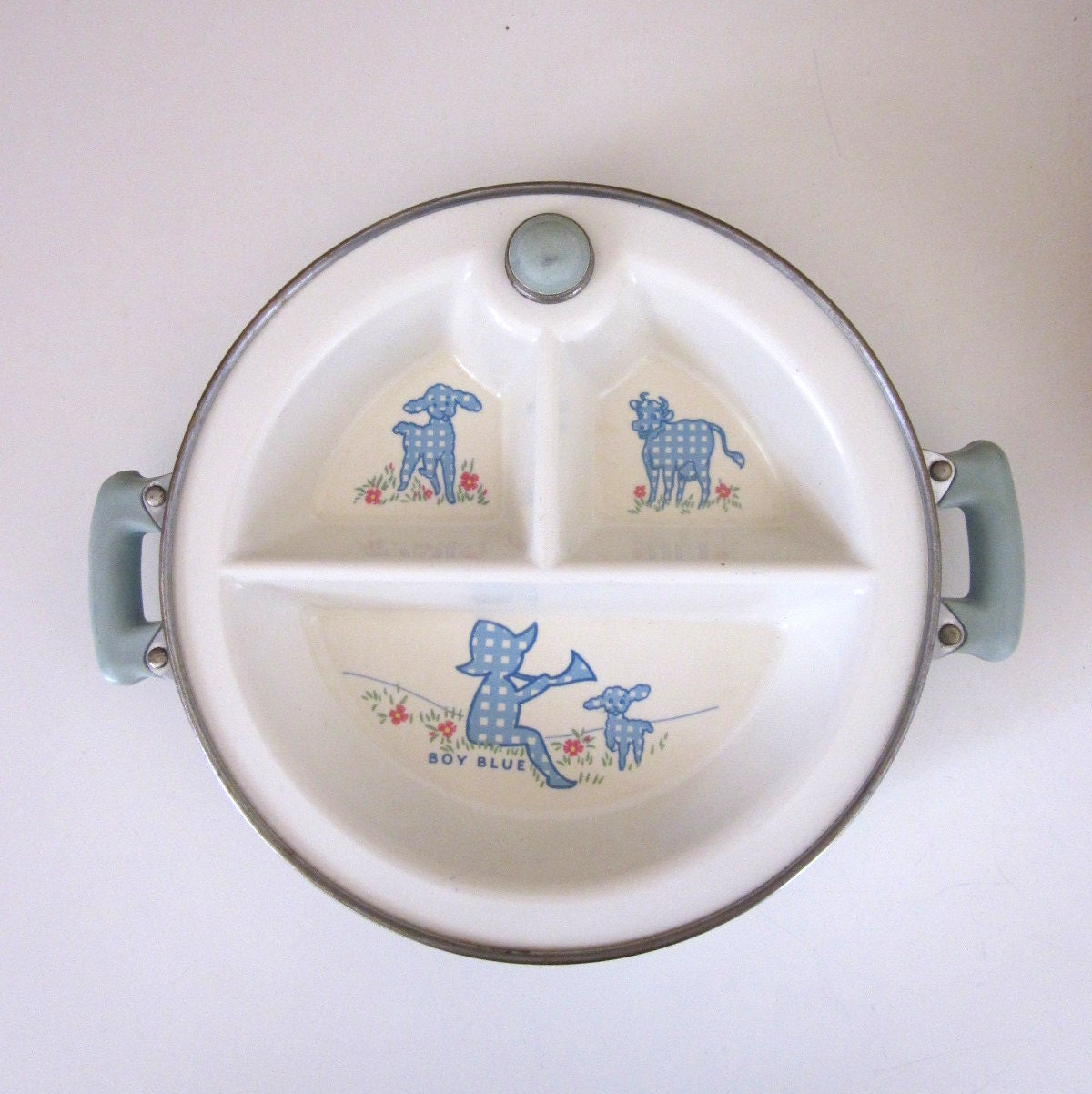 Vintage Divided Baby Food Dish In Warmer Little Boy Blue Excello Baby Bowls & Plates