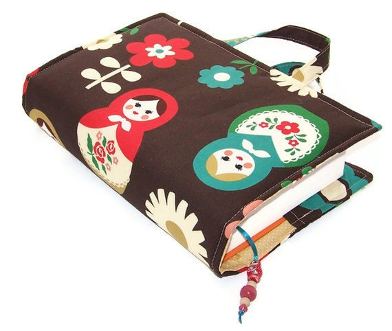 Book Cover Bag Babushka Dolls Dark Brown By