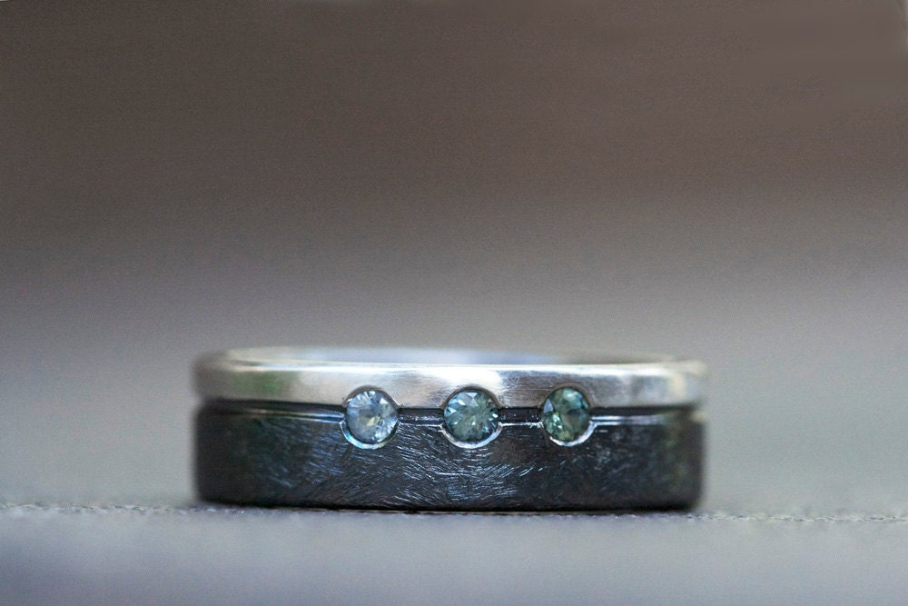Rule of Thirds Montana sapphire ring - sterling silver and sapphire ring - sapphire wedding band - MaryAnneKarren