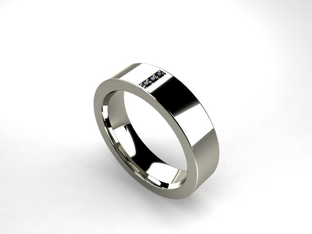 Titanium ring, Black diamond, Men wedding band, commitment ring