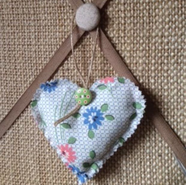 FREE UK DELIVERY  Handmade floral fabric heart with button and twine