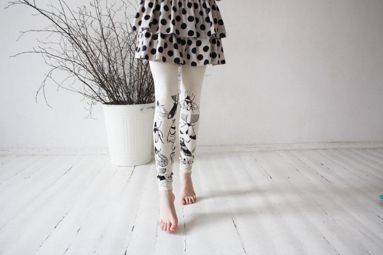 Ivory butterflies -  beige leggings - ZIBtextile