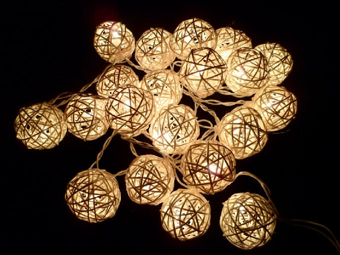 20pcs White Handmade Rattan Balls String Lights Fairy Party Patio Decor Party