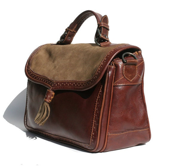 burgundy and green Italian leather handbag