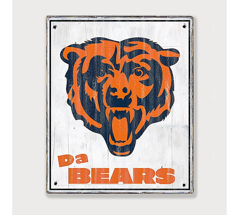 chicago bears distressed rustic wood sign by twotrainsrunning
