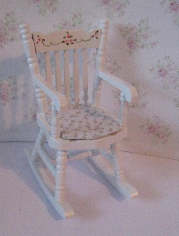 Dollshouse  Nursery Rocking Chair  white rocker rose bouquets nursery rocker  Twelfth scale dollhouse miniature