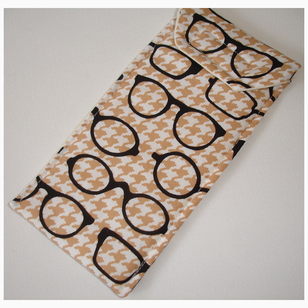 Geek Glasses Case Soft Cozy Sleeve Eyeglass Spectacles Specs Designer Black Beige Houndstooth Geekery Geeky