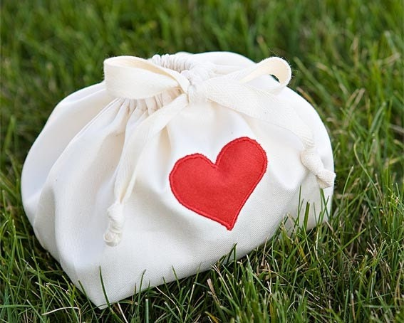 Valentine Cotton Rounds, 10 Organic Ultra Soft Natural Facial Pads in an Embellished Valentine Gift Bag with Red Heart