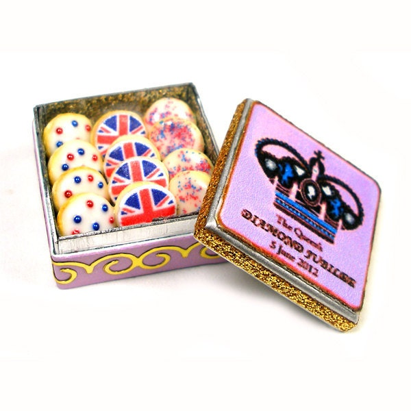 Diamond Jubilee Celebration Biscuits - Dollhouse Miniature Food Handmade