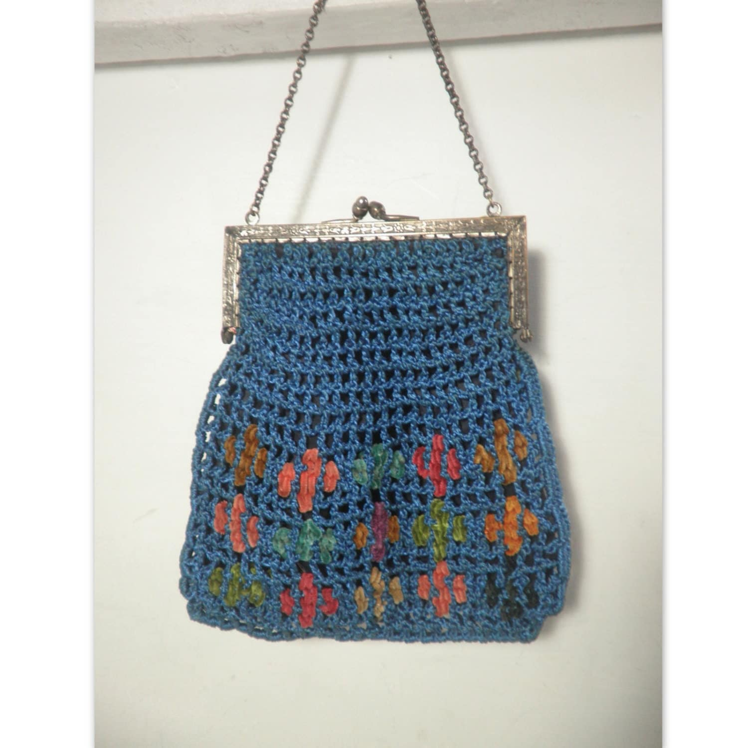 Vintage Crochet / Knit Handbag Purse from the 1920s-30s, Light Blue...