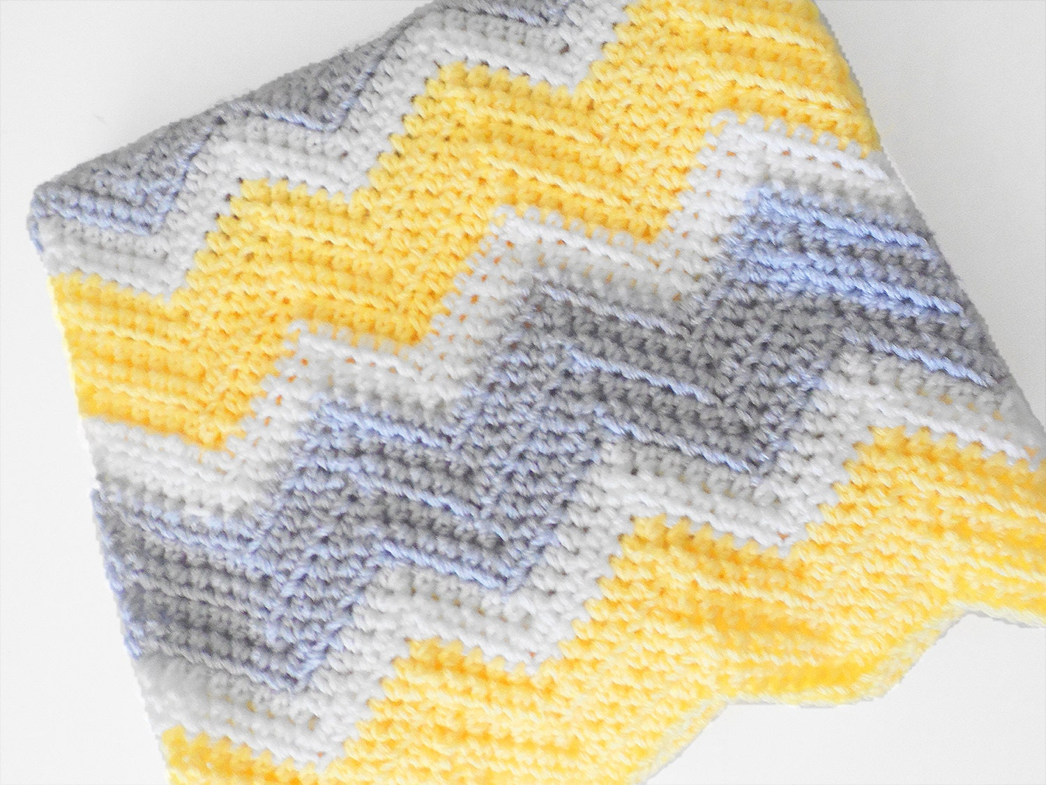 Crochet Pattern Baby Blanket Chevron : Crochet chevron baby blanket in yellow white and light by ...