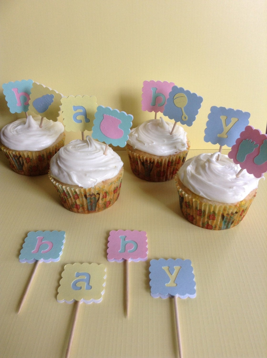 Gender Neutral Baby Shower Cupcake Toppers by ...