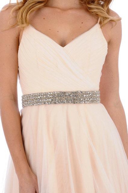 221- Ellie Beaded Sash- crystal sash, rhinestone sash, wedding sash, bridal belt