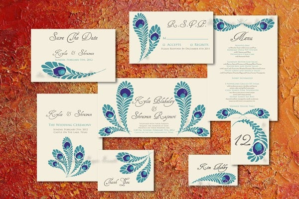 PRINTABLE ROYAL PEACOCK Wedding Invitation Suite 8 Exquisitely Detailed