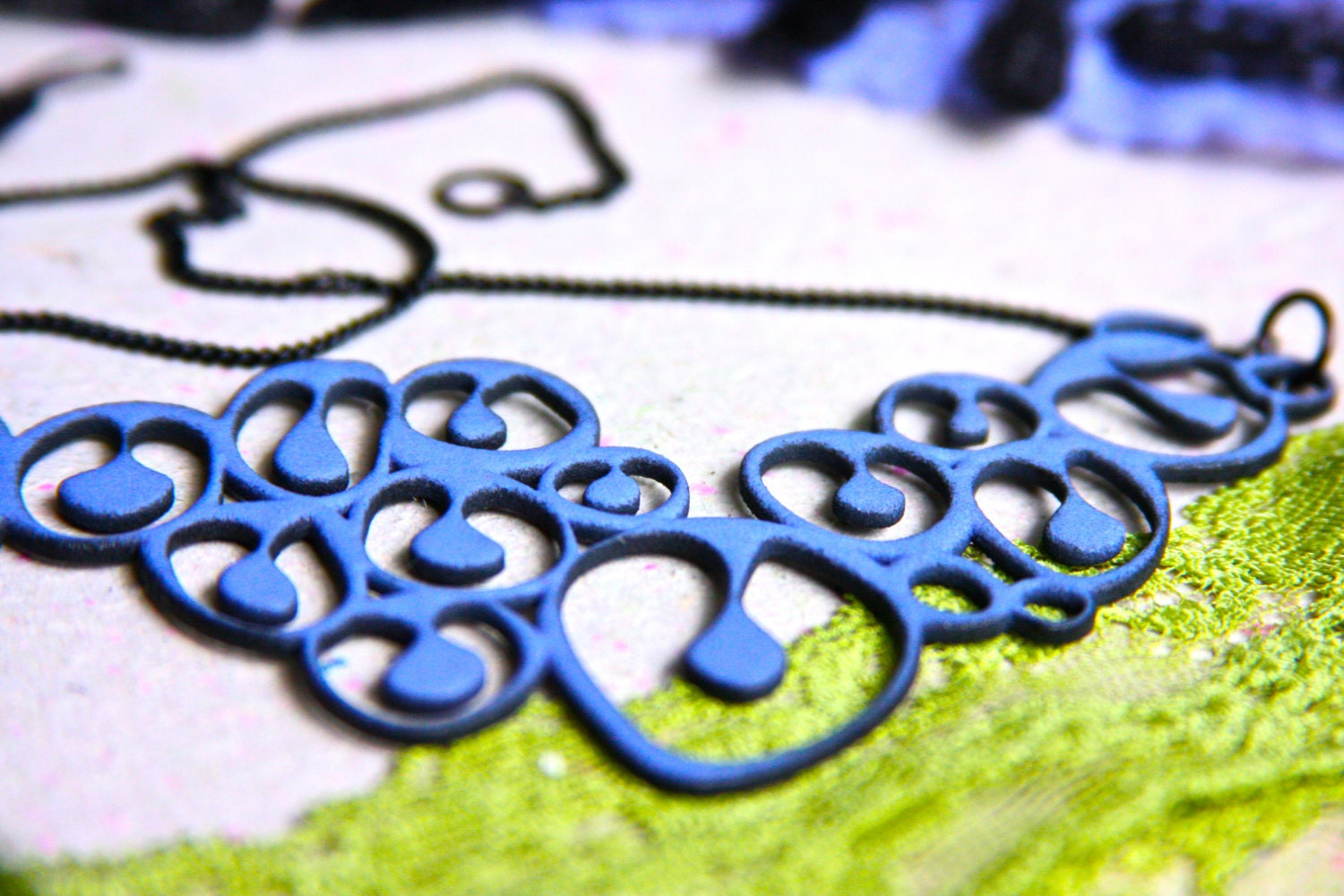 Blue Mod Necklace - Funky Shapes - 3d Printed Jewelry - LemantulaDesigns