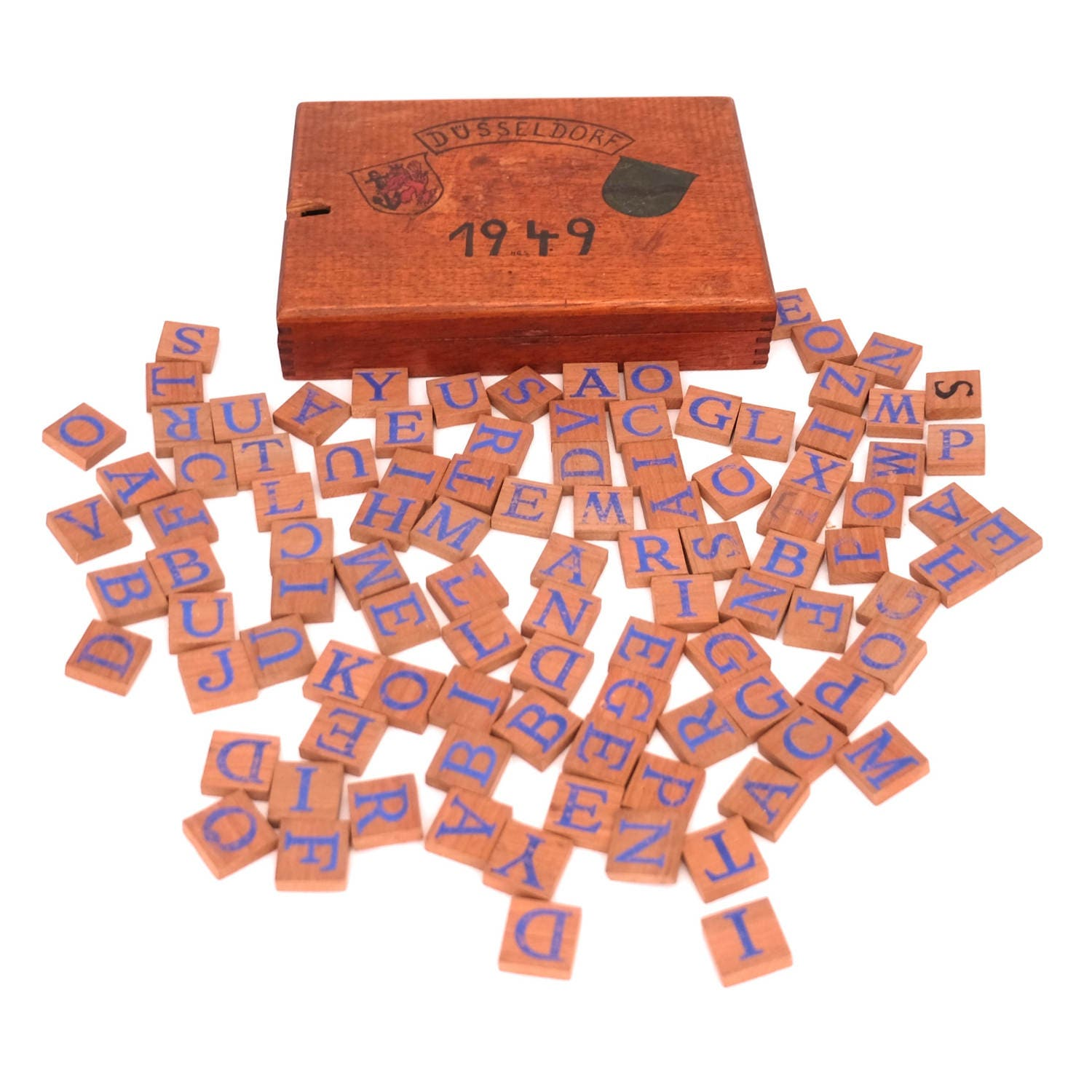 Vintage Wooden Letters Boxed Set of Wooden Letters German Game Alphabet Tile Game Pieces Wooden Scrabble Tiles Word Game Letter Game