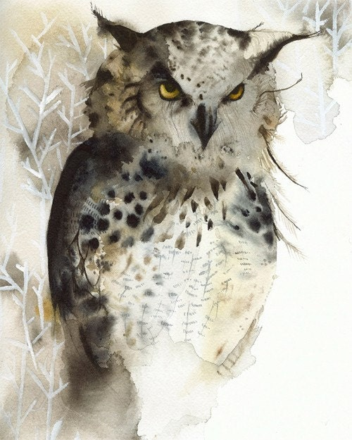 owl art - Great Horned Owl Archival print of watercolor- , rustic home decor, natural, owl art, men, for him - amberalexander