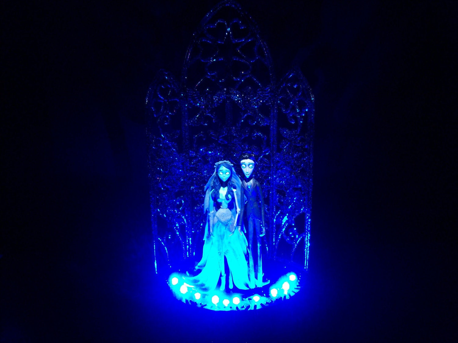 Corpse Bride & Victor Wedding Cake Topper BLUE GOTHIC by