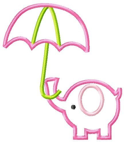 Elephant umbrella machine embroidery by simplysweetembroider