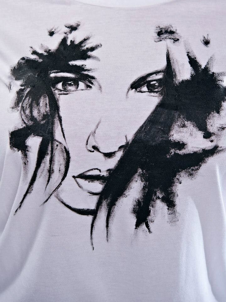 Hand painted Sad face women T-shirt