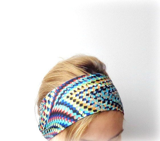 Head scarf seventies 70s psychedelic head wrap jersey head band womens