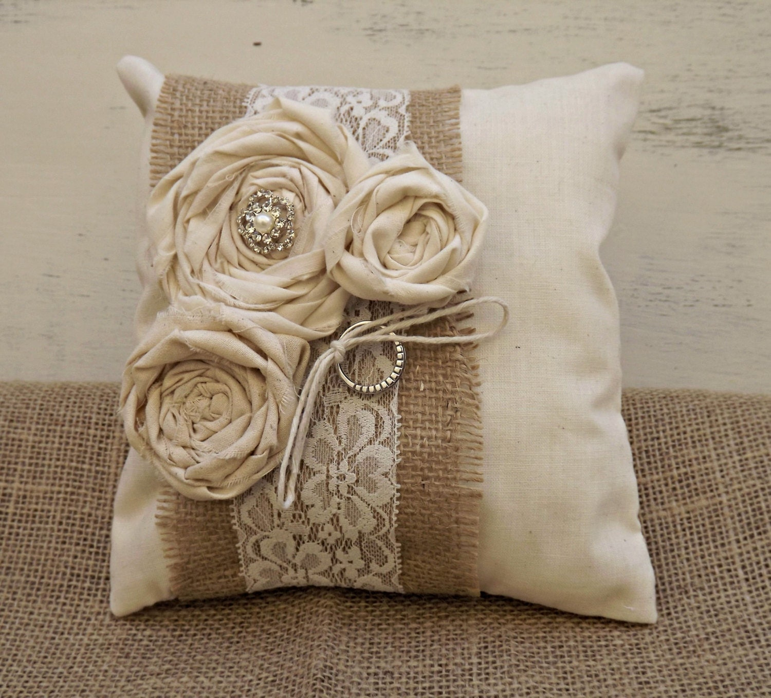 Rustic Shabby Chic Wedding Ring Bearer Pillow by MoreThanLace