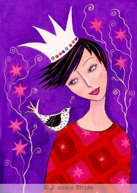 A Little Bird sang to me. Art print from my acrylic painting. - jessicastride