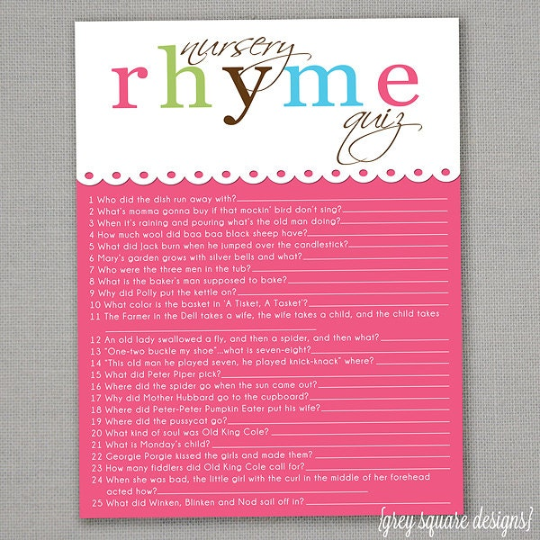 nursery rhyme quiz baby shower game pink