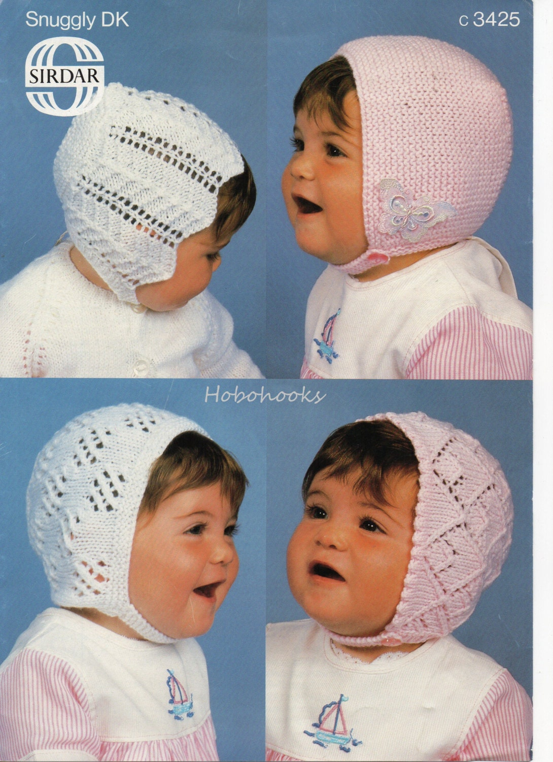 Baby lacy bonnets knitting pattern baby hats knitting pattern in 4 styles  39 months DK hats baby knitting pattern pdf instant download
