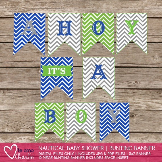 ahoy it 39 s a boy nautical baby shower bunting banner instant