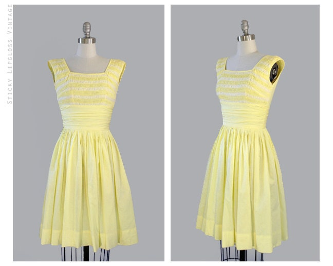 reserved 1950s pastel yellow lace cotton by