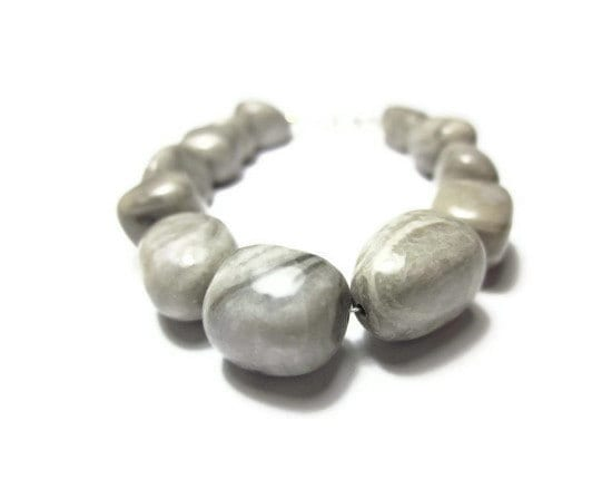 Dove Grey Stone : Dove grey striped marble stone bracelet with by splendidstones