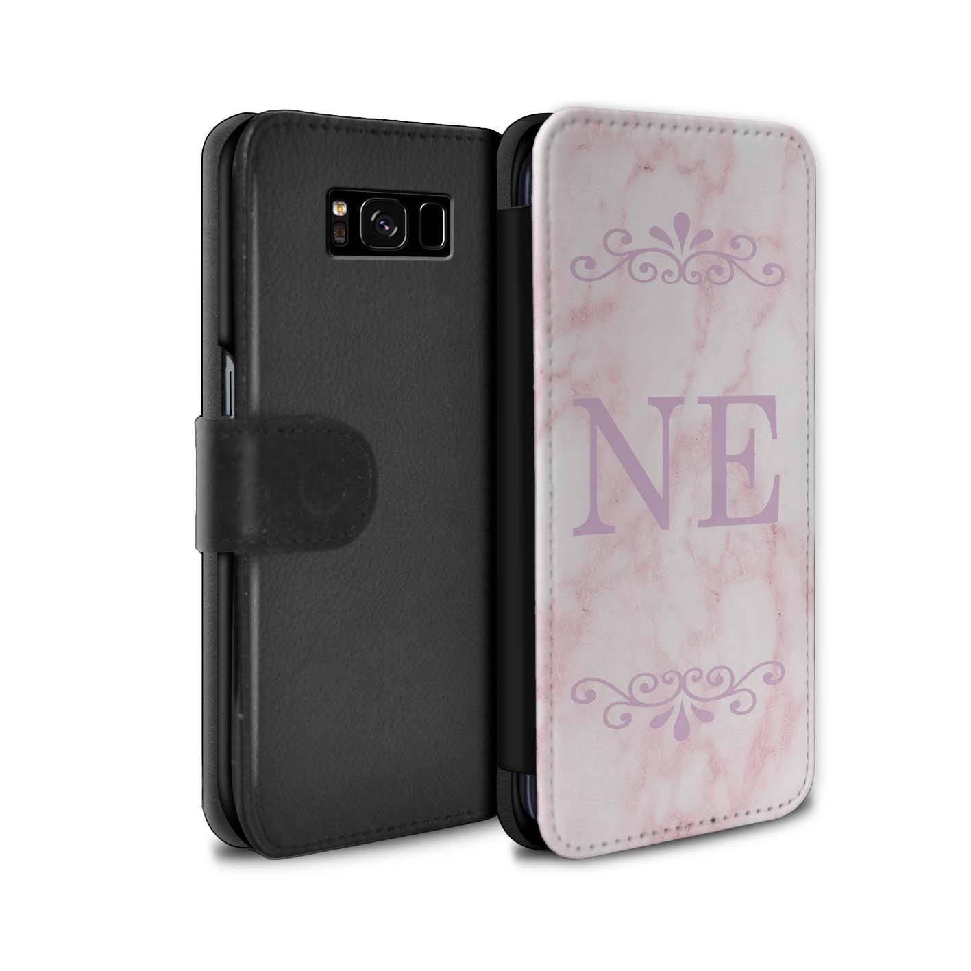 Pink Marble Pink Font Frame initial Personalized Custom Wallet Flip Phone Case Samsung Galaxy S5 S6 Edge S7 Edge S8 S8 Plus