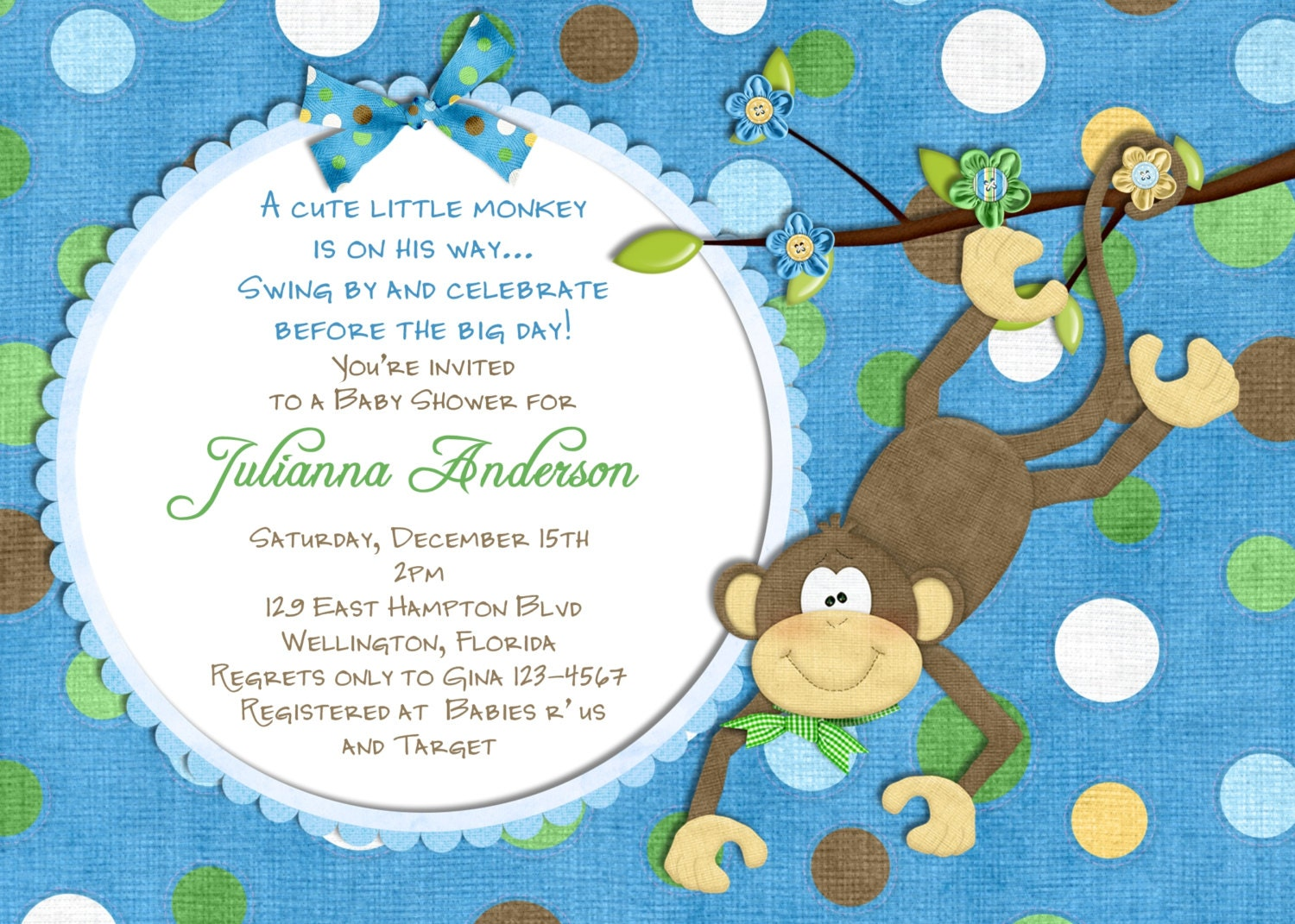 monkey baby shower invitation baby boy shower by 3peasprints