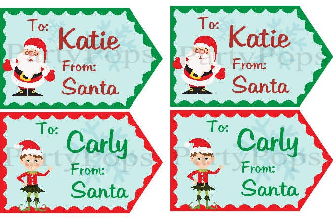 Christmas Gift Tags From Santa Christmas Gift Tag by PartyPops