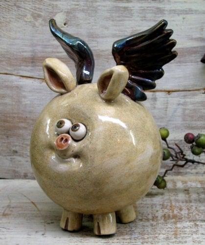 Piggy Bank - Hand made Ceramic Flying Pig - Raku Pottery by Heidi - Heidishoppe