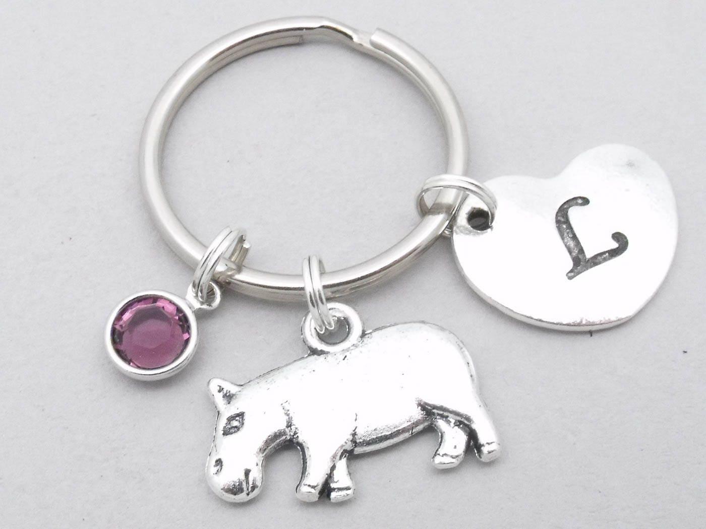 Hippo heart initial keyring  hippo keychain  personalised hippo keyring  hippo accessory  hippo gift  letter  hippopotamus keychain