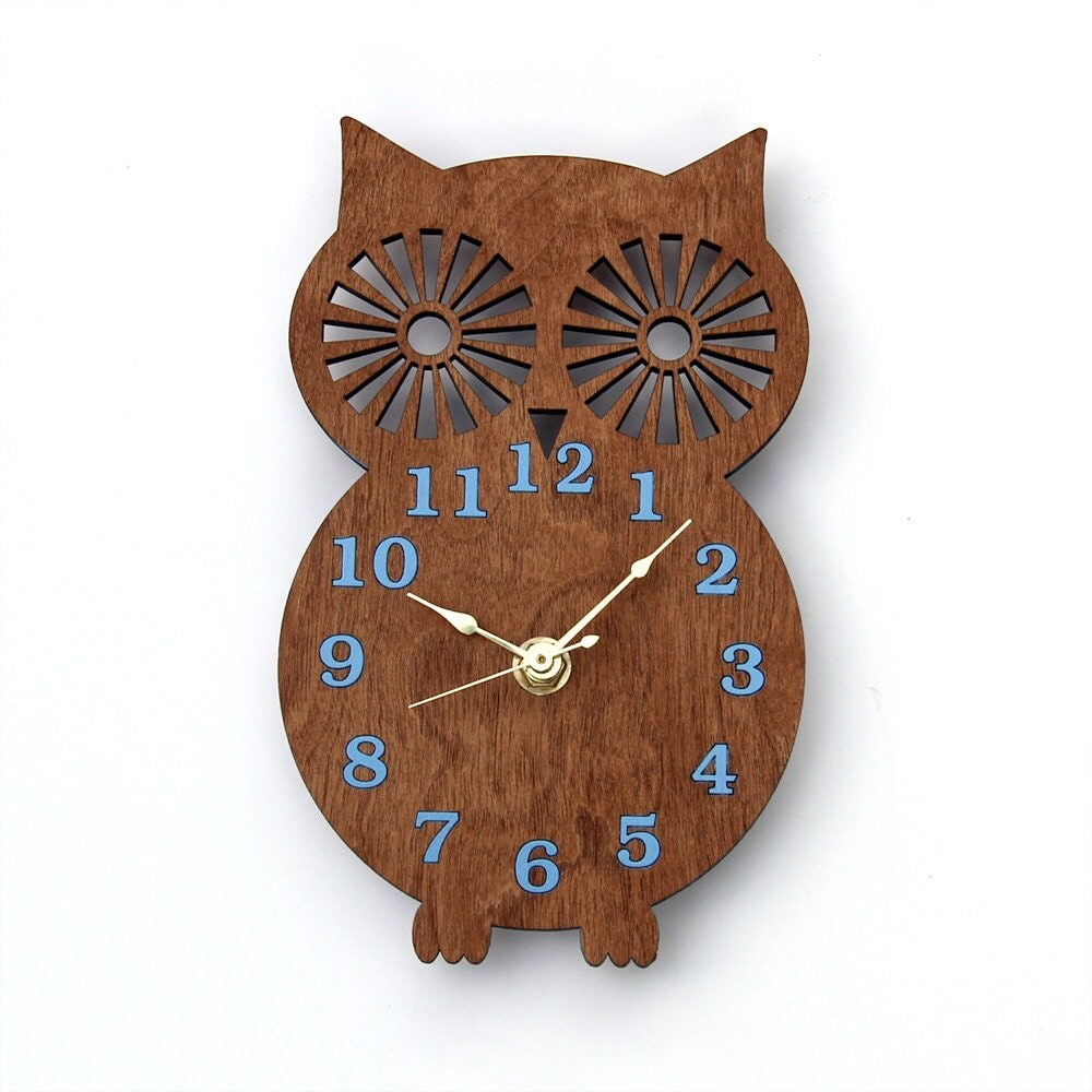 Wall Clock Owl Design : Items similar to owl silhouette modern wooden wall clock