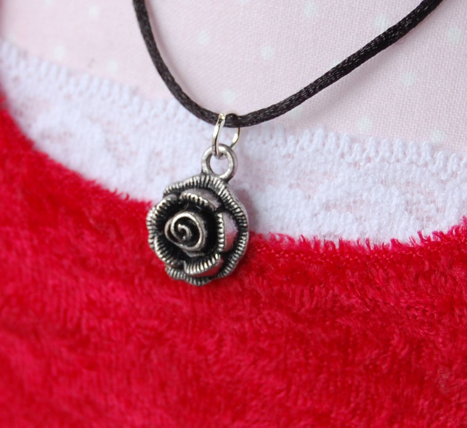 Black Silk Necklace, Rose Charm