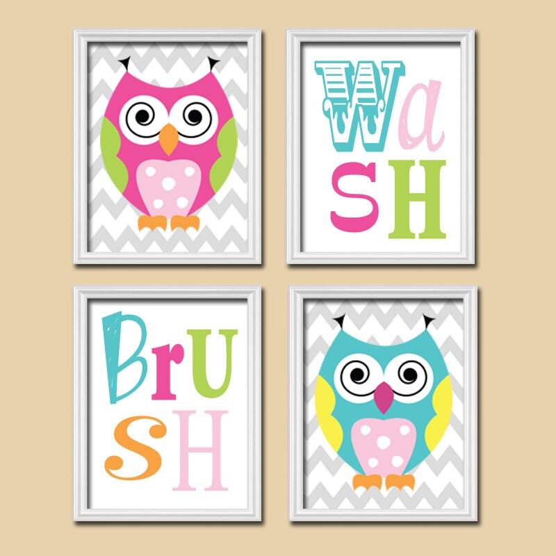 Whimsical Bathroom Wall Decor : Owl shower curtain bathroom wall art canvas artwork funky