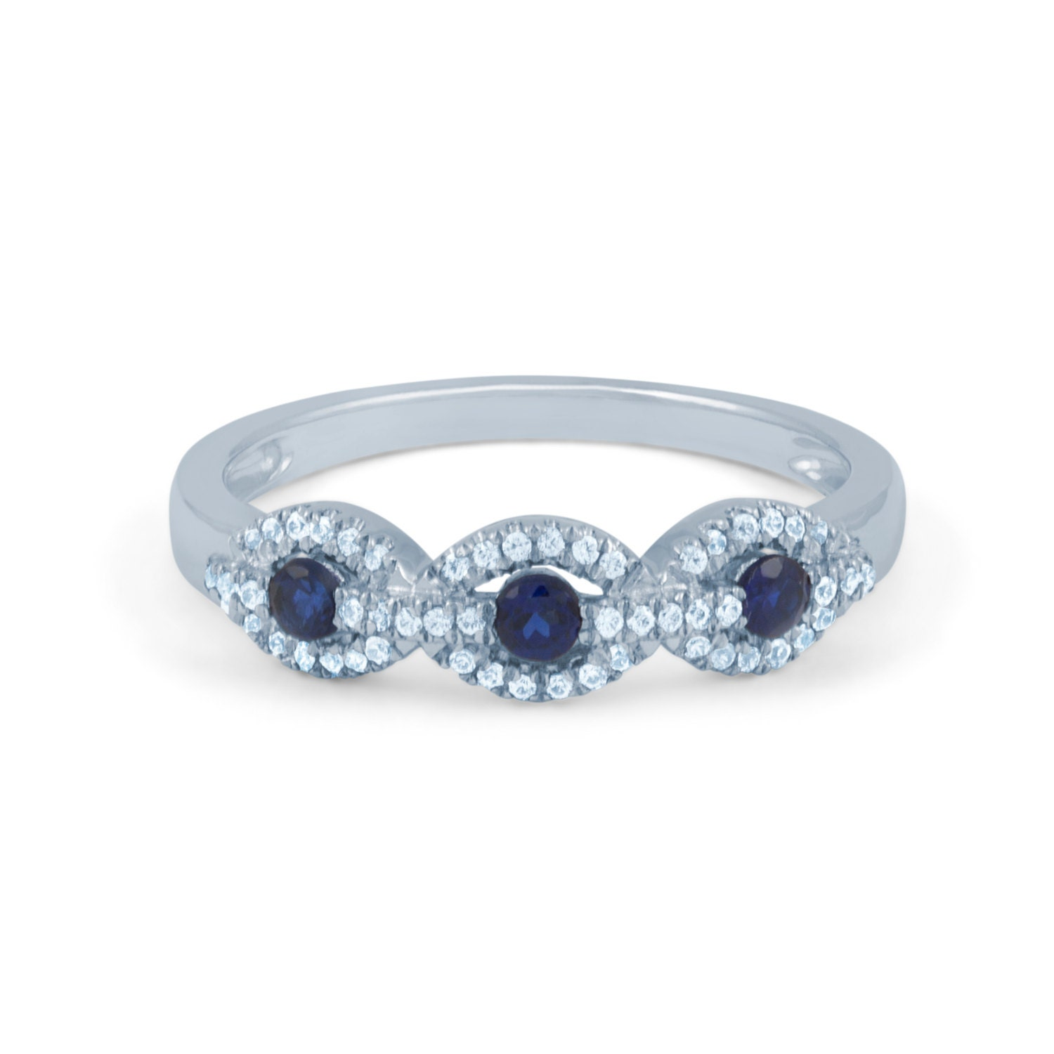 Natural Blue Sapphire Cluster Diamond Wedding Anniversary Ring 18k White or 18k Yellow Gold US Size 4 4.5 5 5.5 6 6.5 7 7.5 8 8.5