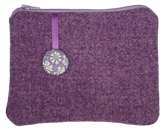 Harris Tweed Lavender Purse with Liberty of London Capel Print Lining