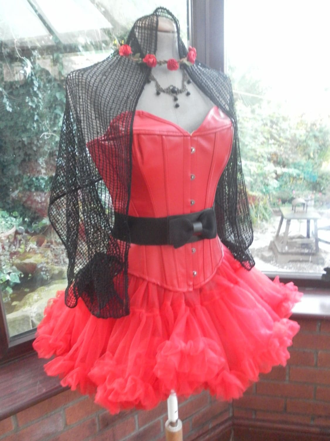 satin lace up corset short frilled tutu skirt sparkly black net veil red flower circle head dress black choker necklace  elasticated belt