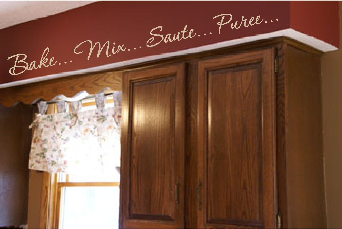 Kitchen words actions wall border soffit border by - Decals for kitchen cabinets ...