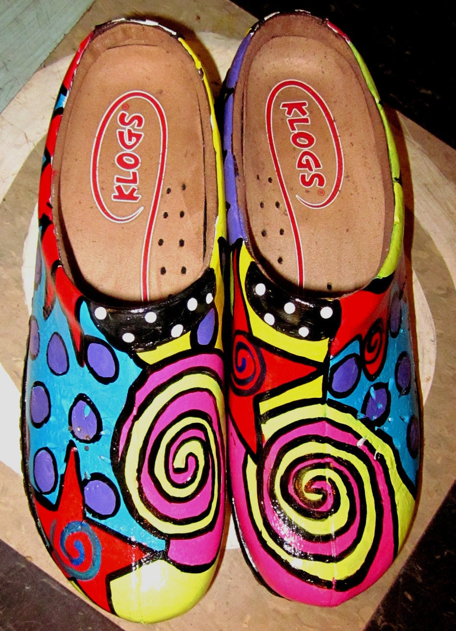 Hand painted leather Klog Shoe size 7 1/2