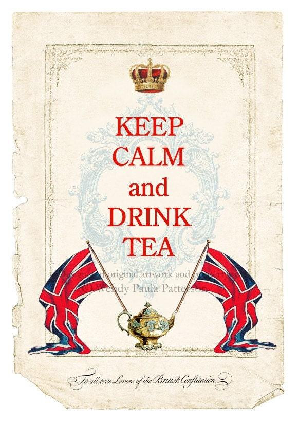 Keep Calm And Drink Tea Union Jack Art Print By Cafebaudelaire
