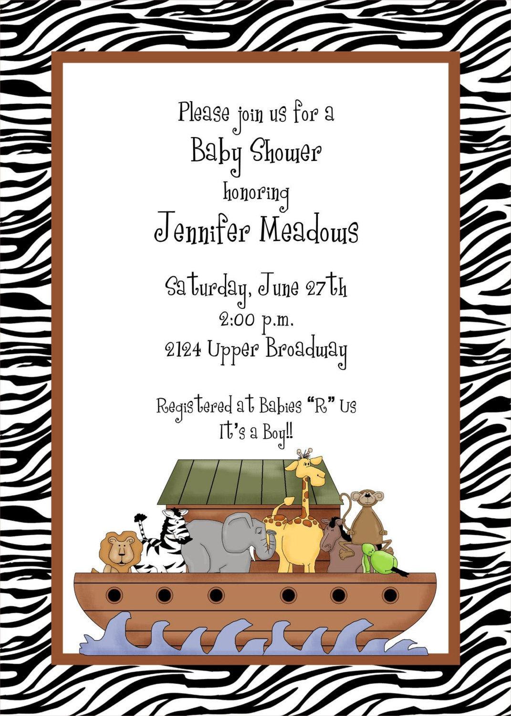 Noah39;s Ark Zebra Print Baby Shower Invitations by Paper Monkey Company
