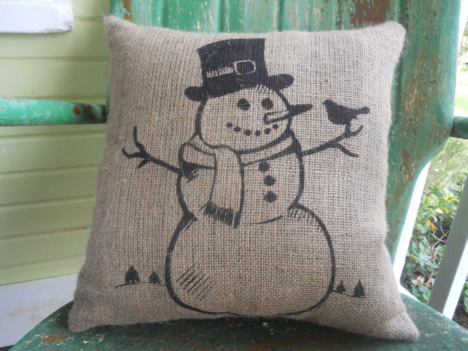 Items similar to burlap pillow with christmas snowman in for Snowman made out of burlap